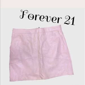 Forever 21 Leather A-Line Mini-Skirt Light Pink